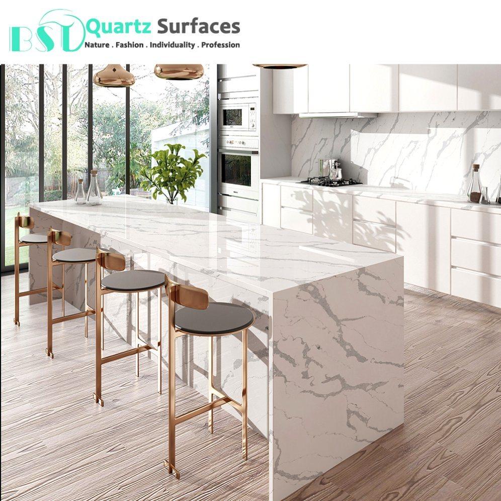 Calacatta Quartz Kitchens: China Unique Veins Bespoke Calacatta Quartz Stone Worktop