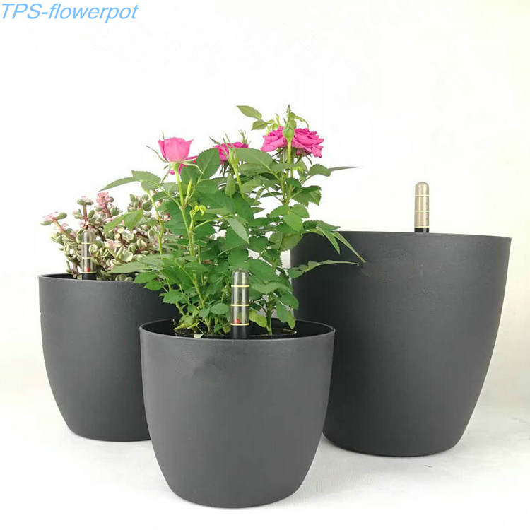 china automatic water absorbing flower pot with water level gauge