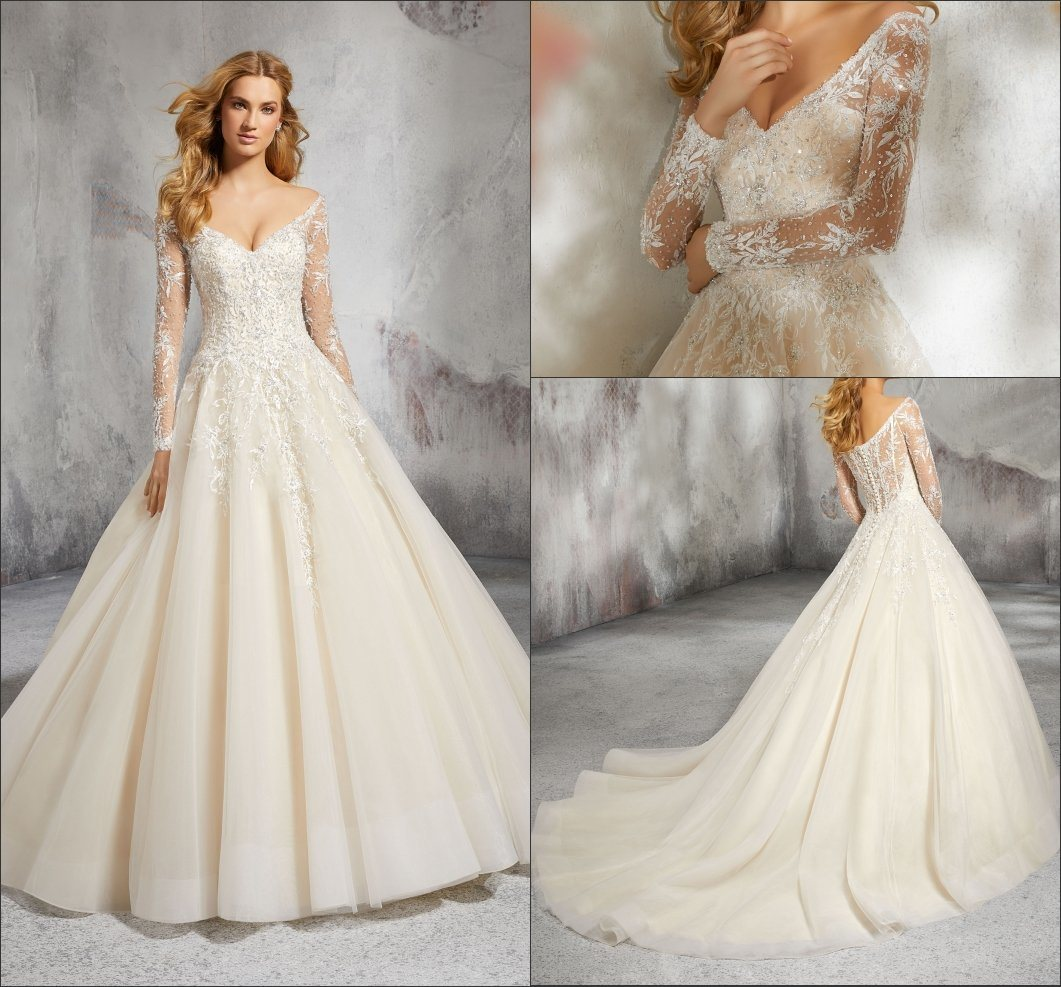 China V-Neckline Bridal Gowns Lace Long Sleeves Glittery Wedding ...