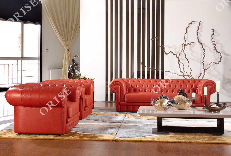 [Hot Item] Hot Selling Home Furniture Orange Genuine Leather Modular Sofa  Set