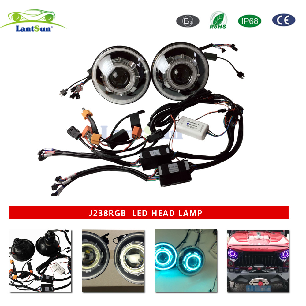China 7 Inch Led Headlamp For Jeep Wrangler With Drl Light Bulbs Headlights J238
