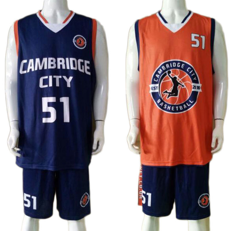 Custom Design Sublimation Reversible Basketball Uniform with Mesh Fabric