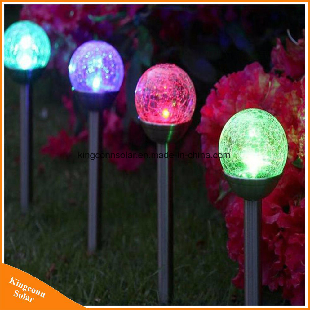 Hot Item Color Changing Outdoor Solar Lights Cracked Glass Ball Led Garden Landscape Pathway Lights For Path Patio Yard