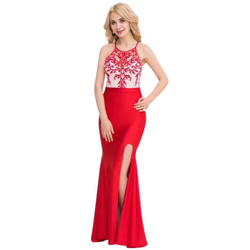 la Vestido bajo del danza de noche del rojo moq formal bordado de formal la señora moda de de RRBfq
