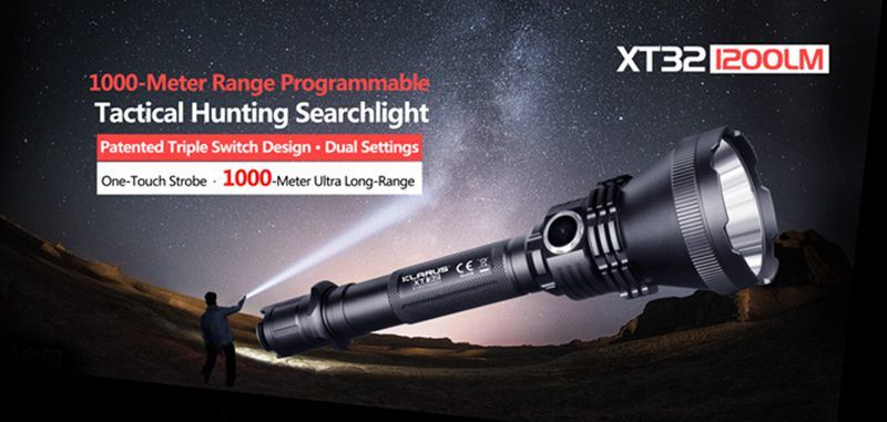 Klarus XT32 Tactical LED Flashlight 2x Klarus 18650 1200 Lumens + Holster