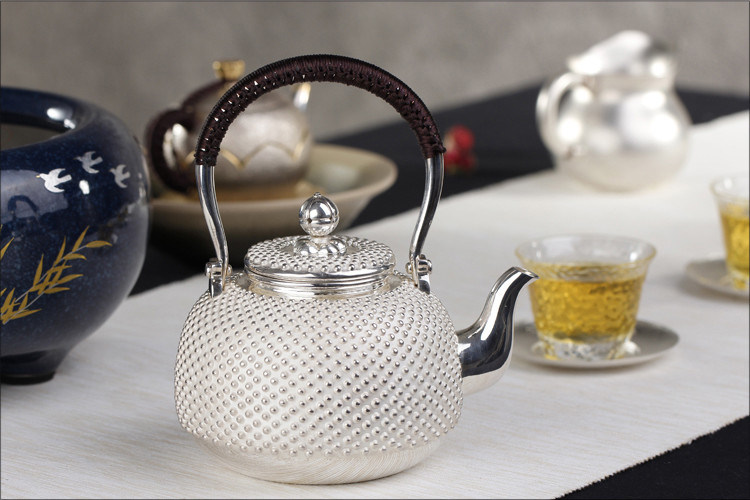 Sterling Silver Japanese Silver Pot Nails Silver Pot Teapot Kung Fu Tea Set by Hand pictures & photos