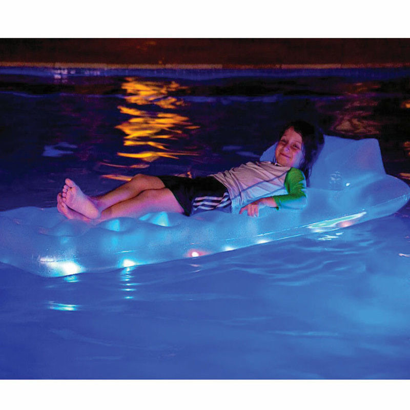 LED PVC Inflatable Air Mattress with Light for Pool Swimming