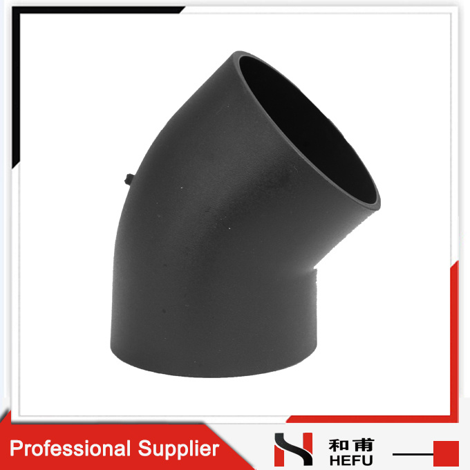 Black HDPE Plastic Material Drainage Pipe Fitting 45 Degree Elbow