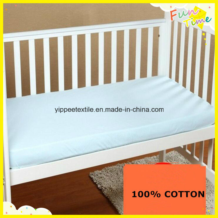 Crib Fitted Sheet Made of 100% Cotton Knitted Jersey Fabric pictures & photos