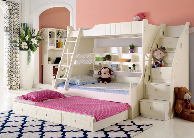 China Korean Style Solid Wood Bunk Bed for Children ...