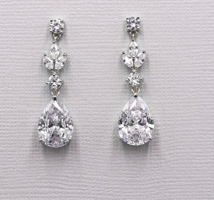 China Wedding Pear Earring Jewelry Bridal Cz Earring Jewelry