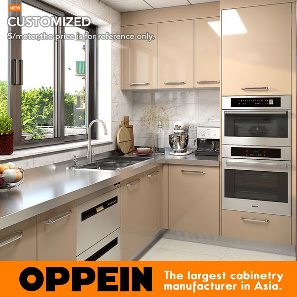 [Hot Item] Oppein Wet and Dry Stainless Steel Kitchen Cabinet with  Stainless Steel Countertop (OP17-ST02)