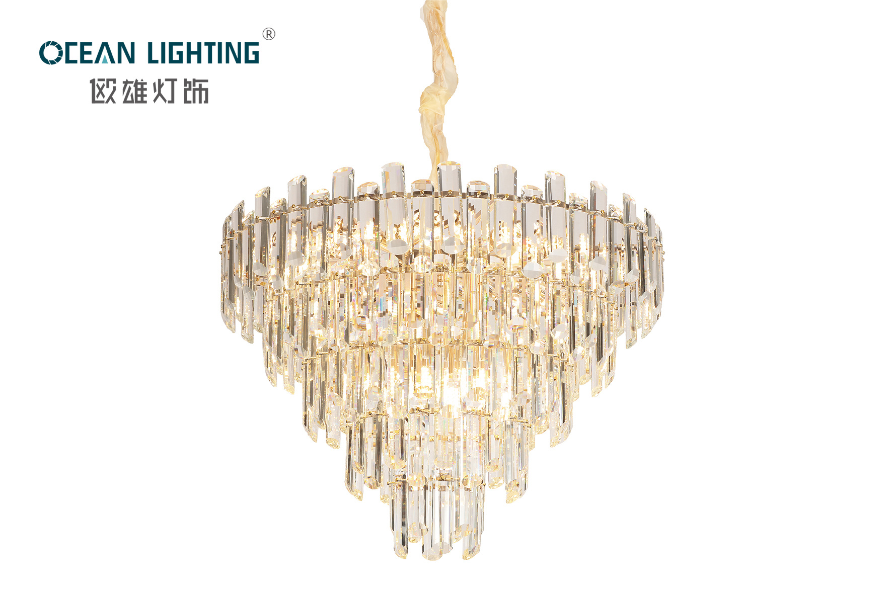Golden Indoor Lighting Circular Multilayer Metal E14X24 Crystal Chandelier Luxury