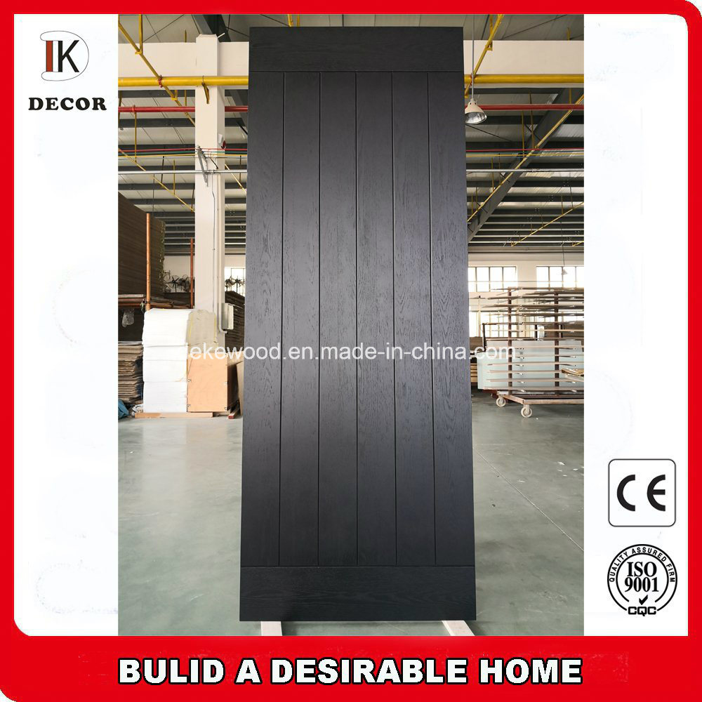 China Black Color Hotel Interior Barn Plank Doors With Wide V Groove