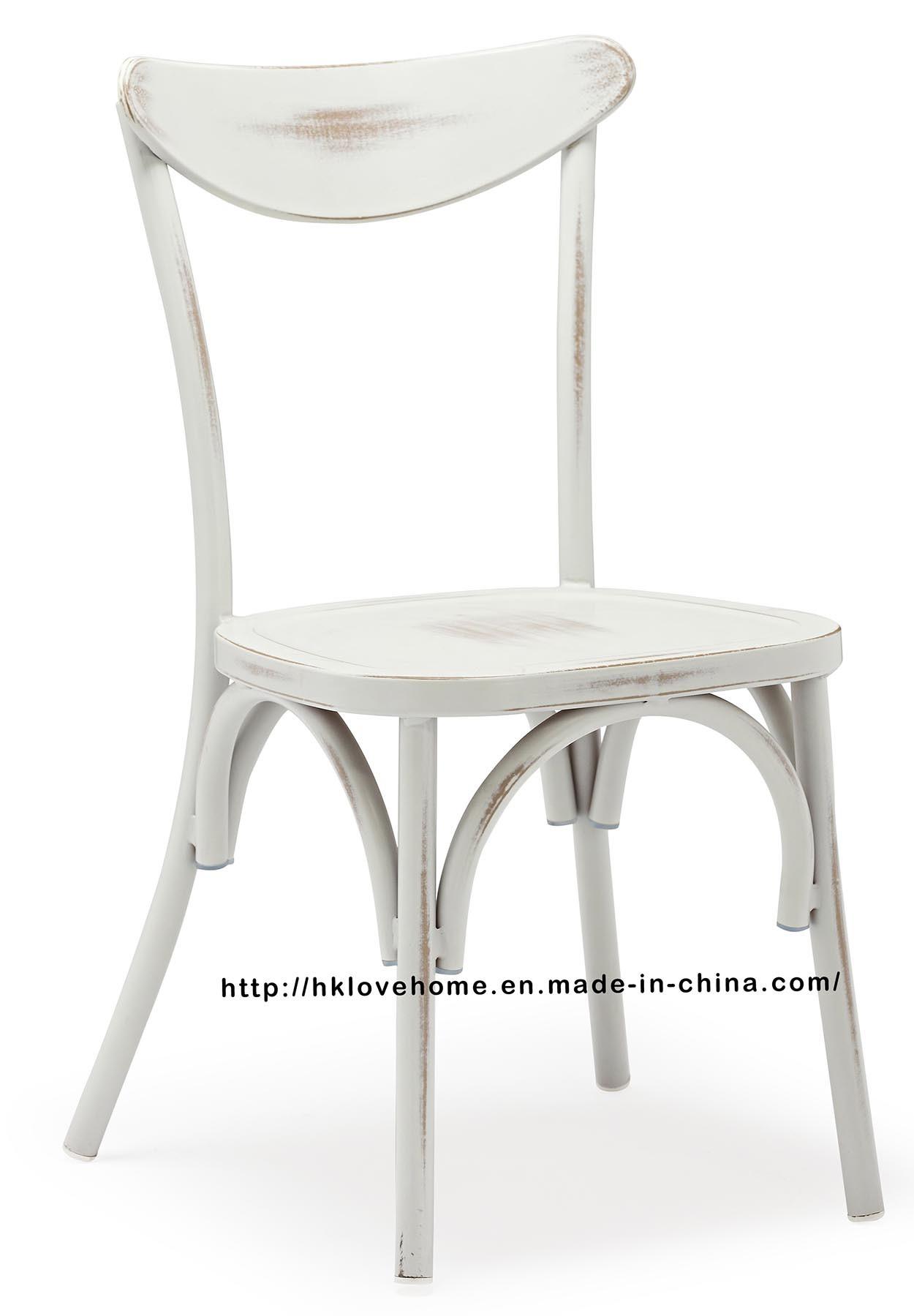 Hot Item Restaurant Coffee Garden Outdoor Stackable Antique Metal Dining Chairs