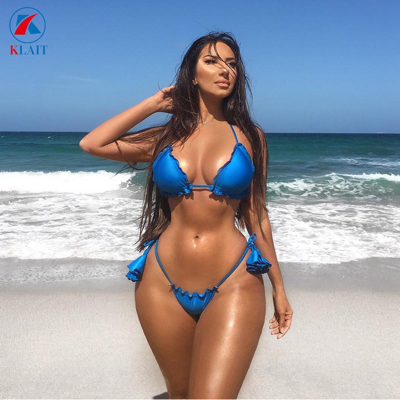 China New Stylish Mature Women Blue Ruffled Sexy Brazilian