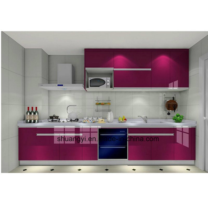 Waterproof PVC MDF Sheet Door with Shape Kitchen Cabinets pictures & photos