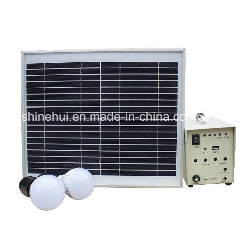 10W Mini Solar Home System with LED Bulbs