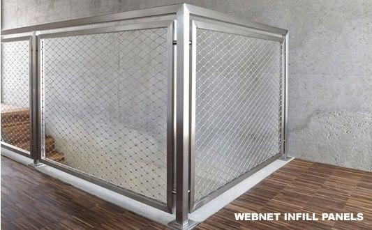 Stainless Steel Wire Mesh / Metal Panel Balustrade