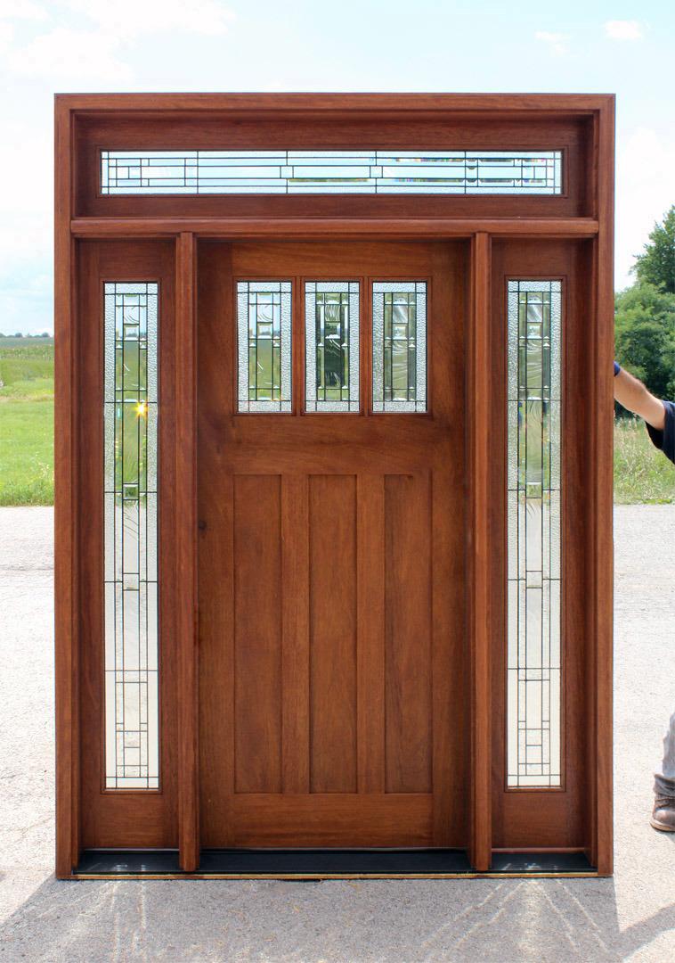 China Exterior Solid Wood Entry Door With Glass Panel Garage Door