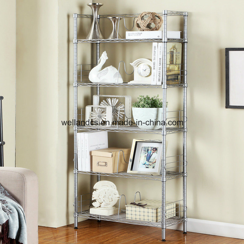 Hot Sale 5 Tiers Sliver Metal Wire Book Display Rack for Home/Office pictures & photos