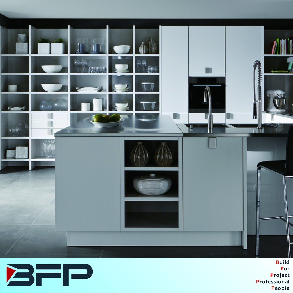 China High Quality White Kitchen Storage Cupboard with Stainless ...