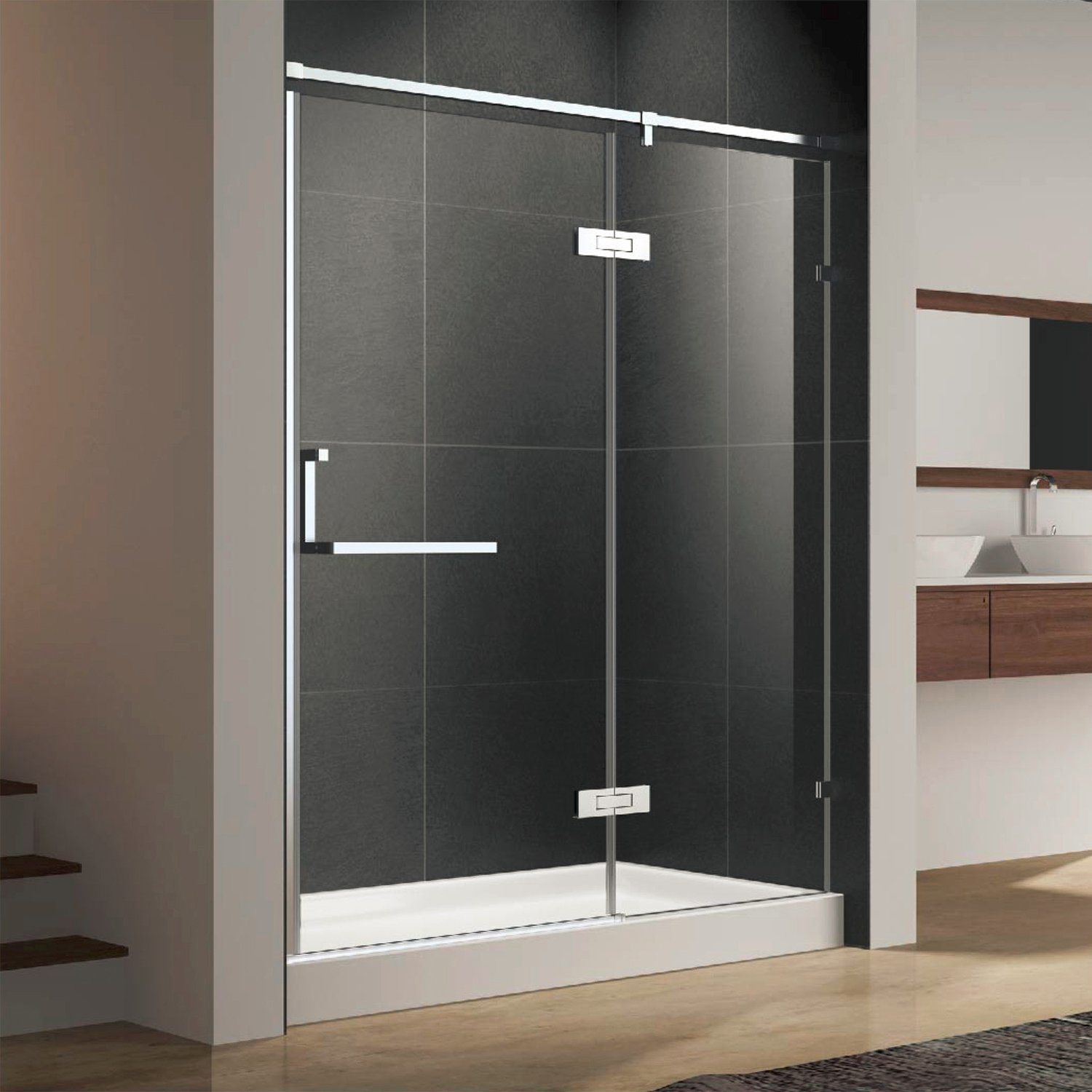 Hot Item Semi Frameless Shower Door Screen With Stainless Steel Hinges Handle