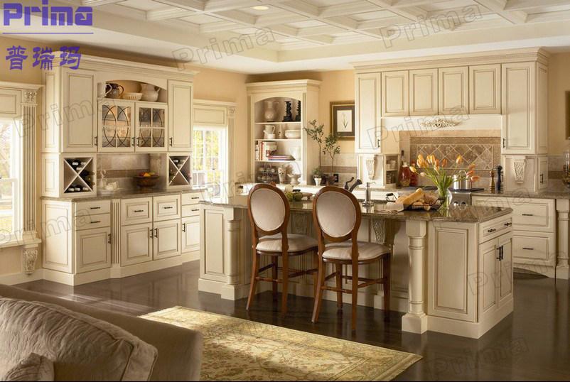 [Hot Item] Cream Glazed Molding Raised Panel Free Standing Kitchen Cabinets