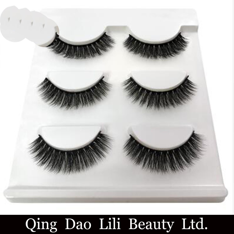 361a188e670 3 Pairs Natural False Eyelashes Thick Makeup Real 3D Lashes Eyelash  Extension Non Magnetic Fake Lashes Long Silk Eyelashes