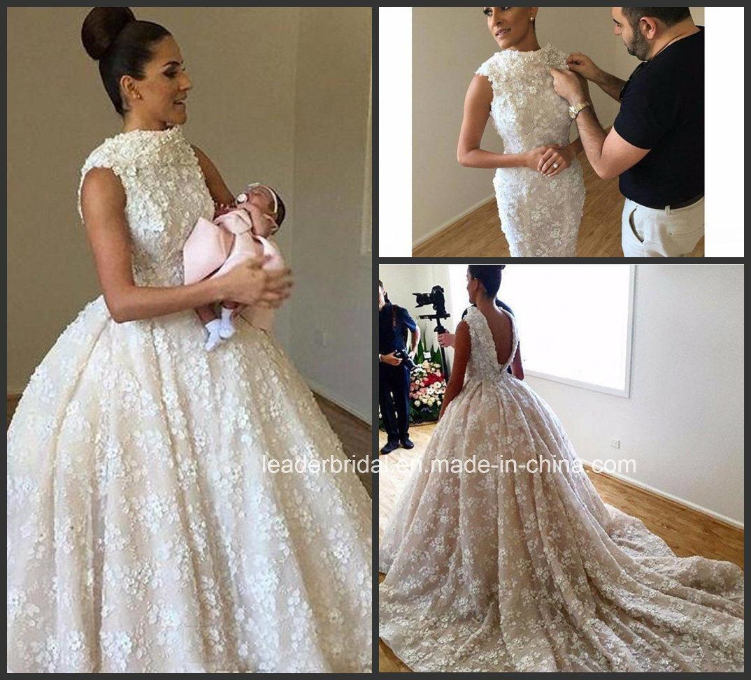 China Bateau Lace Bridal Ball Gown Deep V-Back Detachable