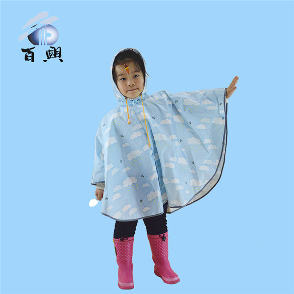 Kids Waterproof Printed Rain Poncho with Hood