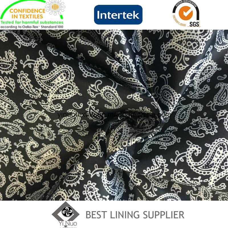 Polyester Satin Printed Lining Fabric Super Soft Men′s Suit Lining