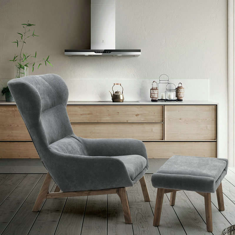 Grey Color Wooden Furniture Living, Living Room Lounge Chair