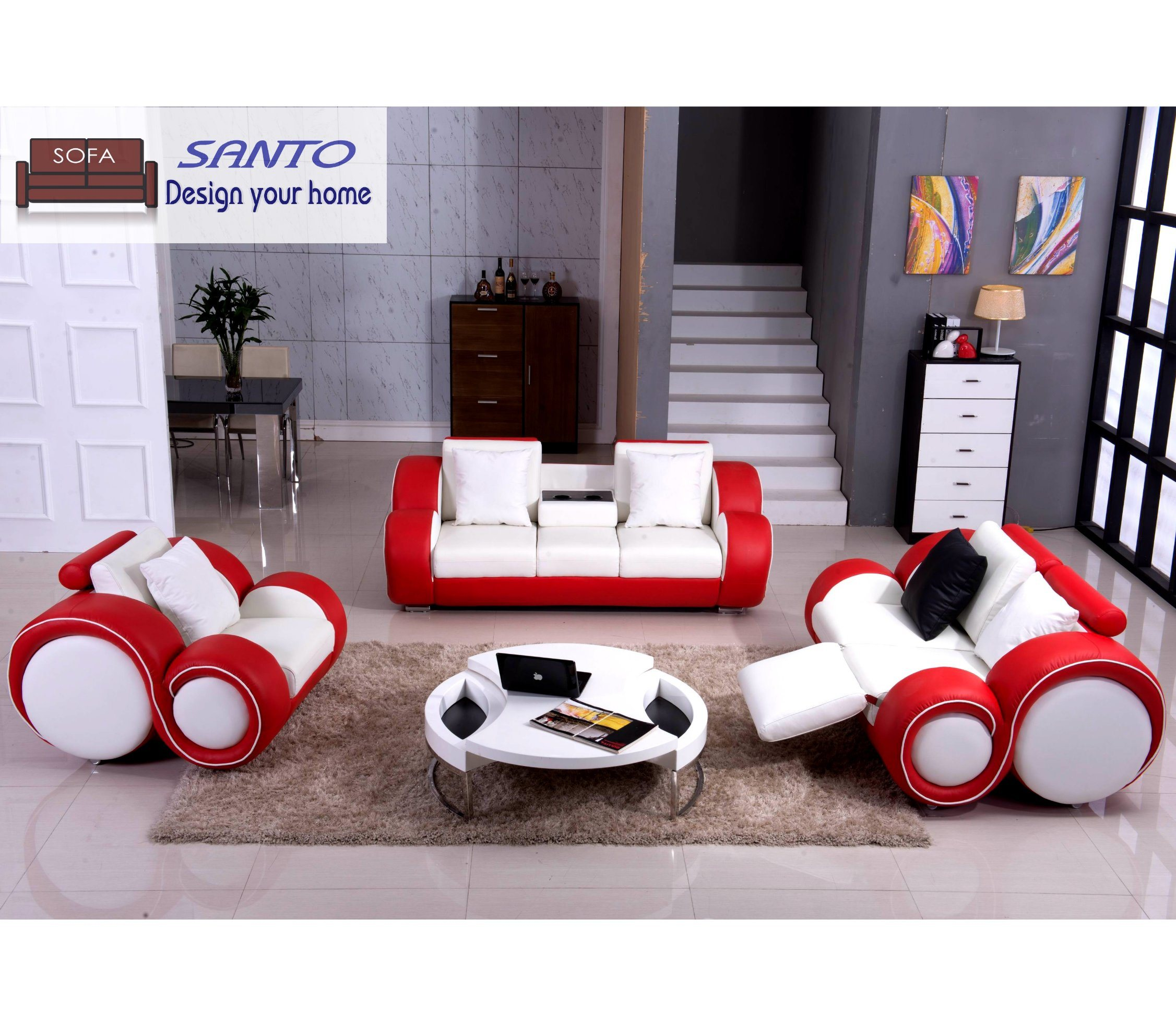 White And Red Color Modern Leather Sofa