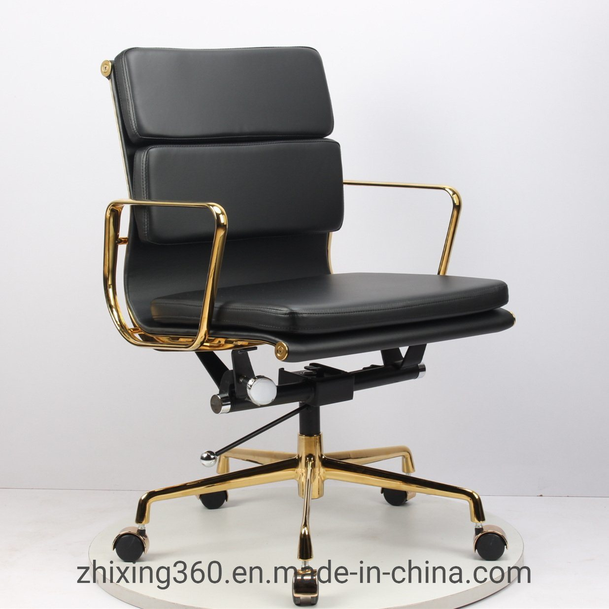[Hot Item] Eames Office Chair Designer Chair Engraved Classic Gold-Plated  Office Swivel Chair Leather Boutique