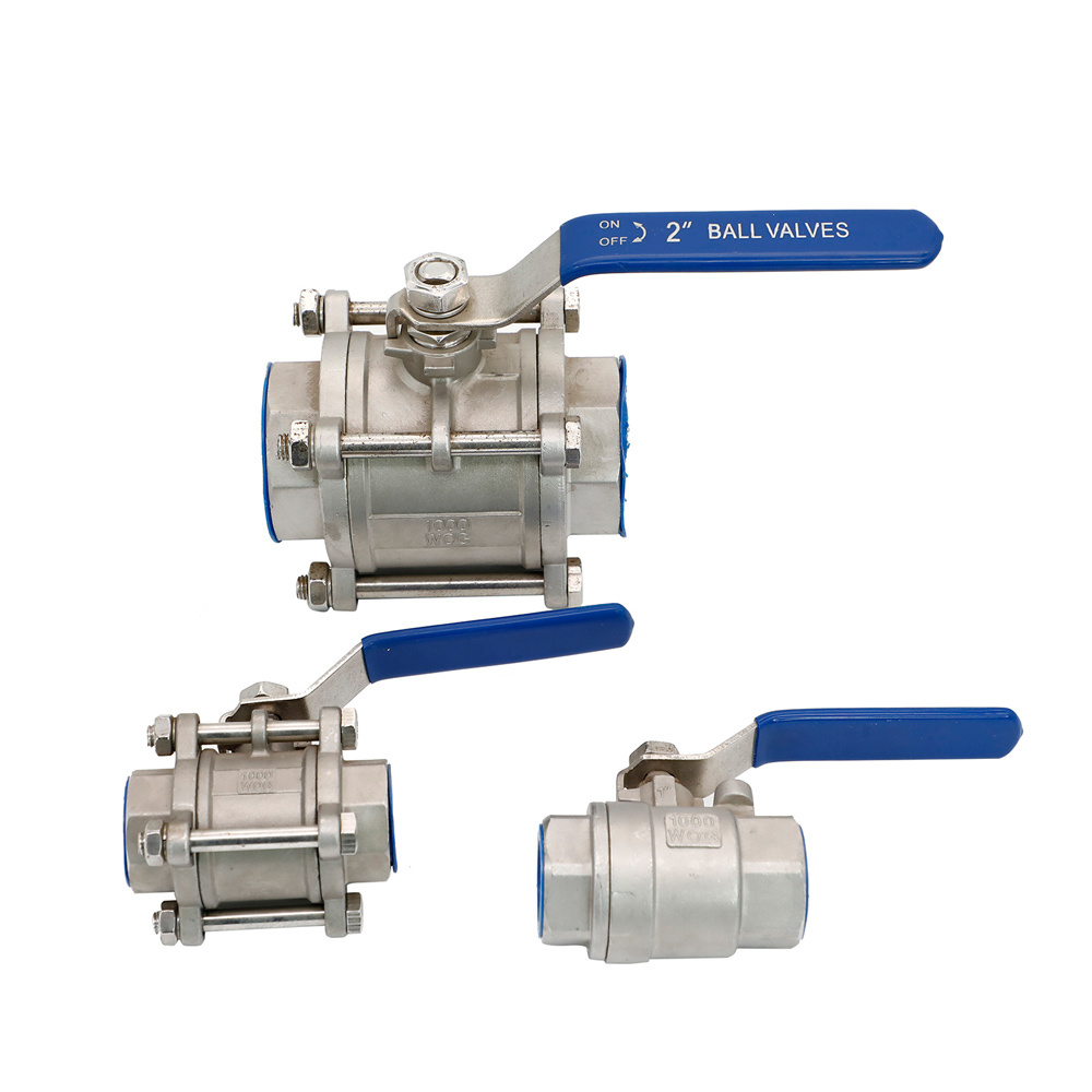 3PC Stainless Steel 316 Thread High Platform Ball Valve 1//2 NPT with Blue Locking Handles Full Port