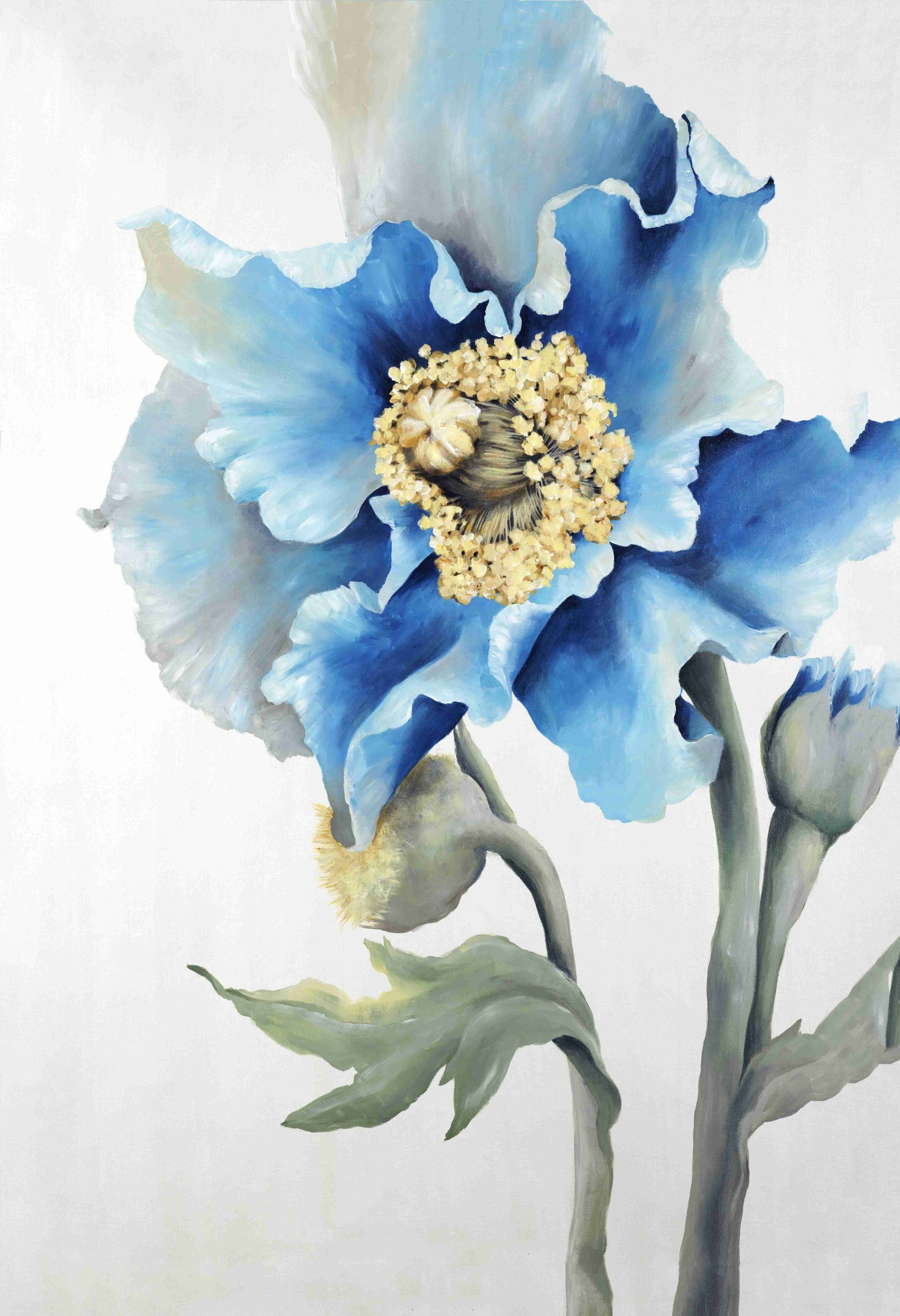 China Blue Flowers Hand Embellishment Oil Painting On Canvas Wall Art Wall Pictures Painting For Living Room Home Decor Ol 200645 Size 24x36 Inch China Oil Painting And Art Painting Price