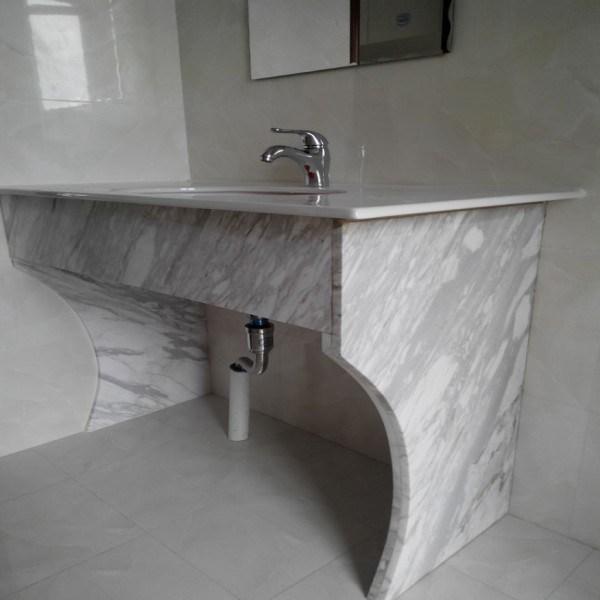 China White Volakas Marble Vanity Top