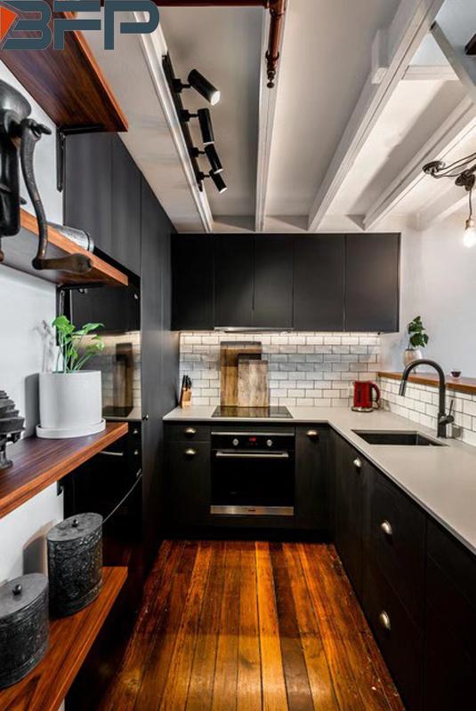 China Black Matt Finish Industrial-Style Kitchen Custom-Made Cabinets - China Furniture, Kitchen Cabinets