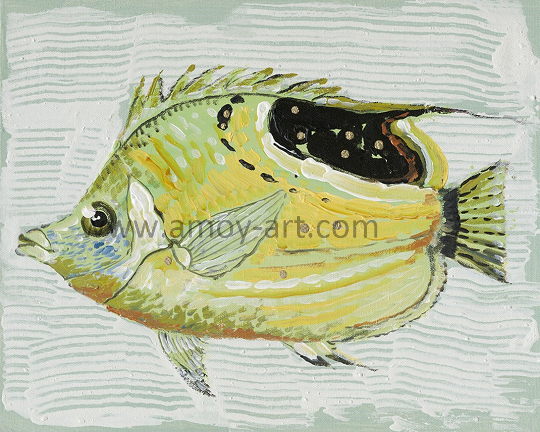 China Handmade Nordic Style Fish Oil Painting on Canvas for Wall ...