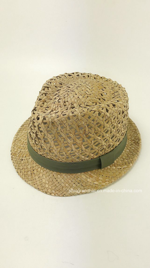 China Natural Seagrass Straw Hand Weaving Pattern Fedora Hat Photos
