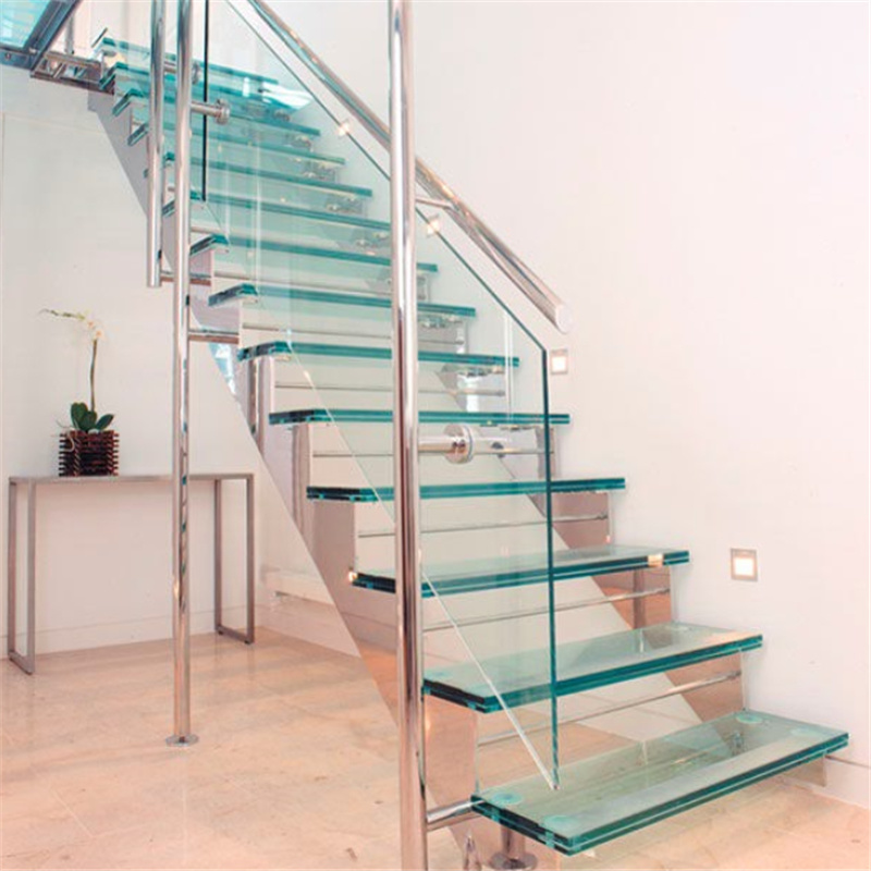 China Stainless Steel Stringer Zig Zag Glass Staircase With Stair Railing China Zig Zag Stair Glass Staircase