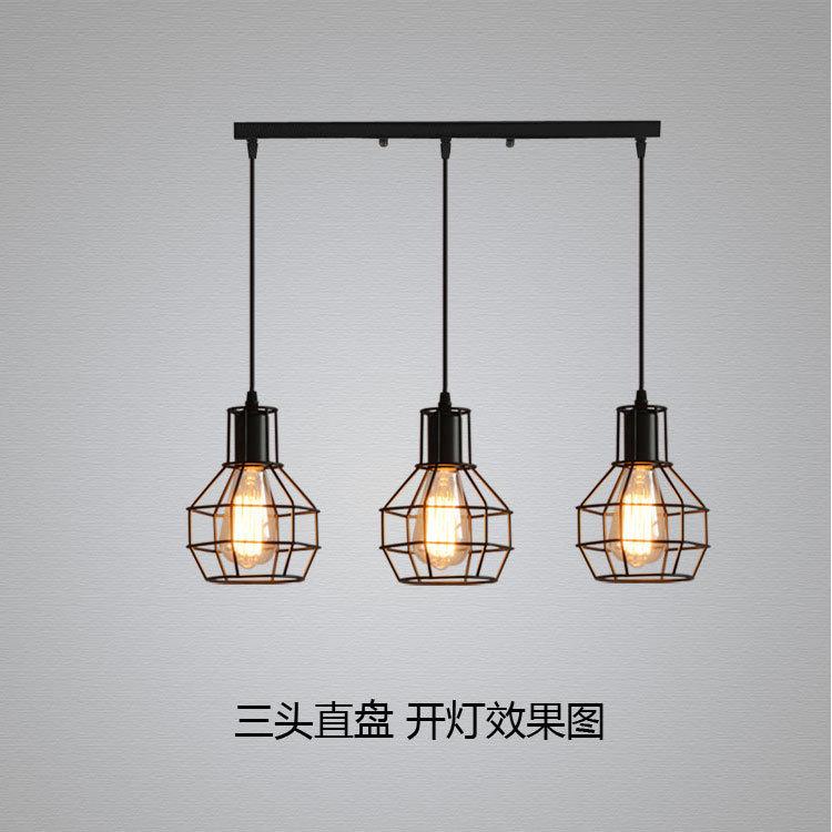 Hot Item Three Head Creative Vintage Cage Led Light Pendant Lamp