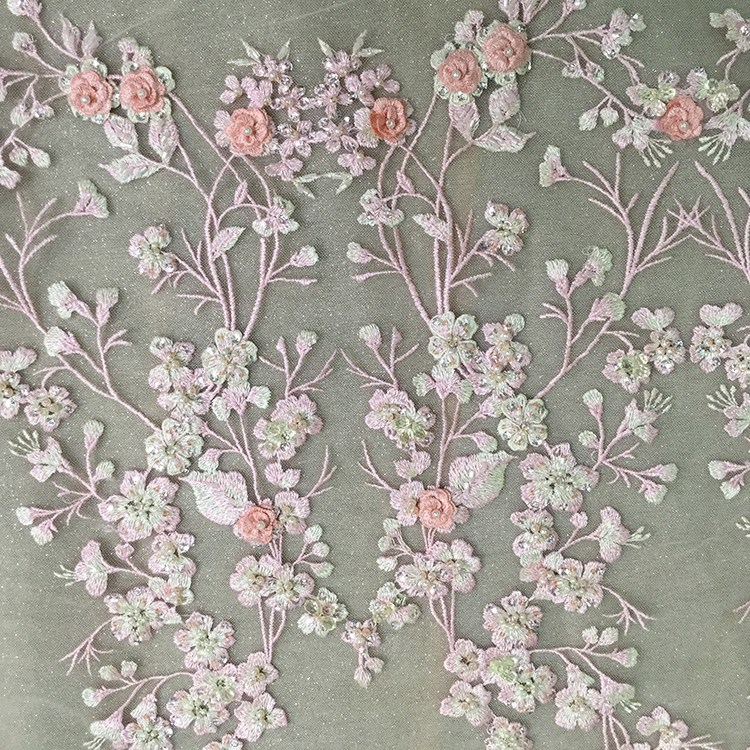China 3d Floral Lace Fabric Tulle Embroidery Designs For Wedding Dress China Bead Lace Fabric And 3d Flower Lace Embroidered Fabric Price,Soft Pink Wedding Dresses