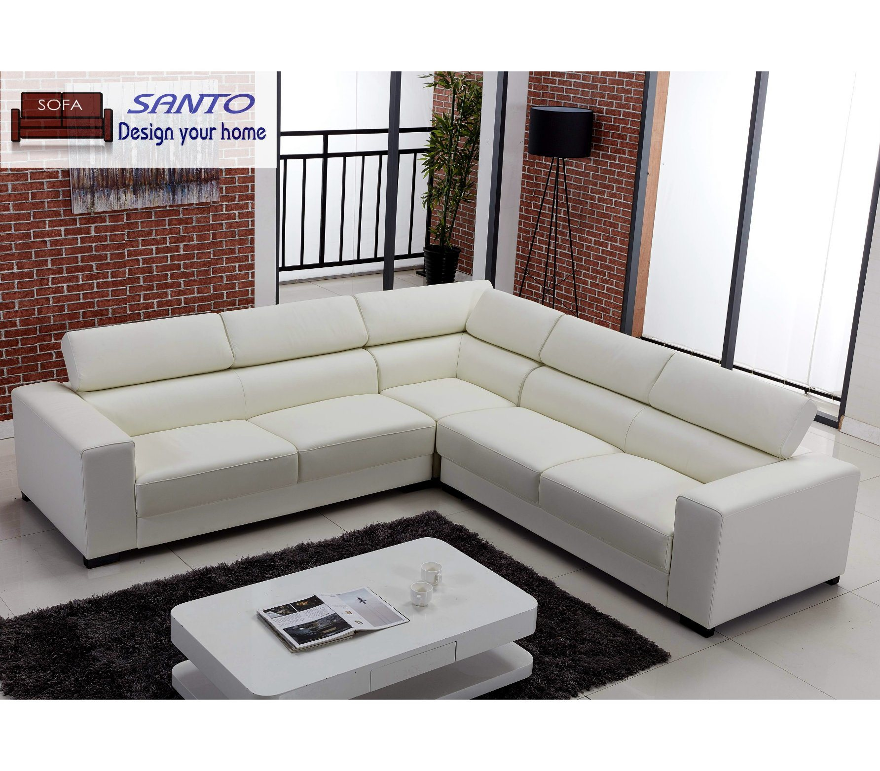 Leather Corner Sofa Set Modern Design