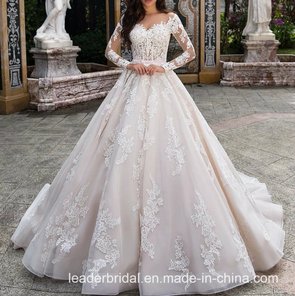 Ivory Lace Bodice Ball Gown Wedding Dress With Sheer Long: China V-Neck Wedding Dresses Lace Long Sleeves Sheer