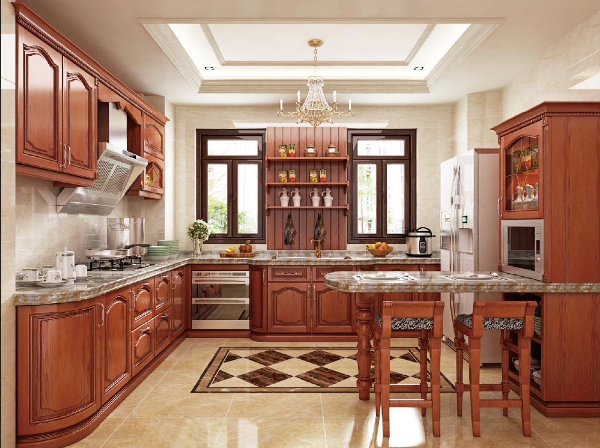Hot Item 2019 New Model Luxury Solid Wood Kitchen Cabinet Furniture