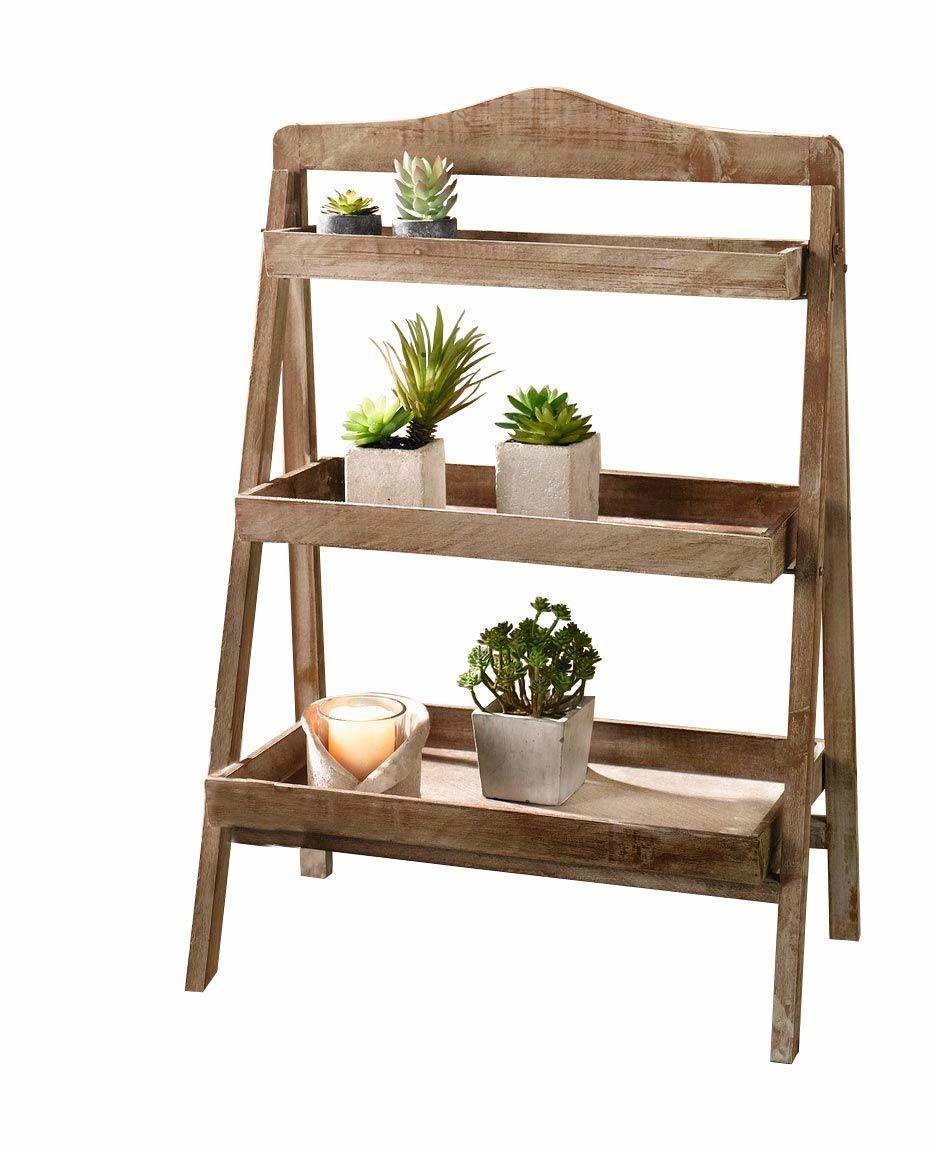 China Foldable Wooden Plant Stand For Outdoor With Three Shelves Vintage Photos Pictures Made In China Com