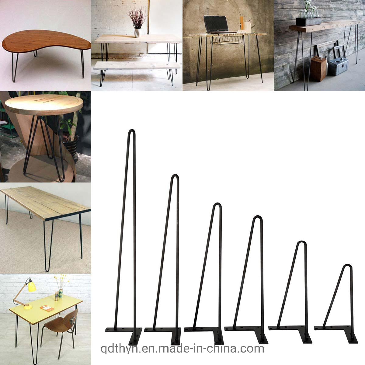 """Set of 4 2-ROD Coffee Metal Table Hairpin Legs 8/"""" 12/"""" 16/"""" 28/"""" Solid Iron Bar US"""