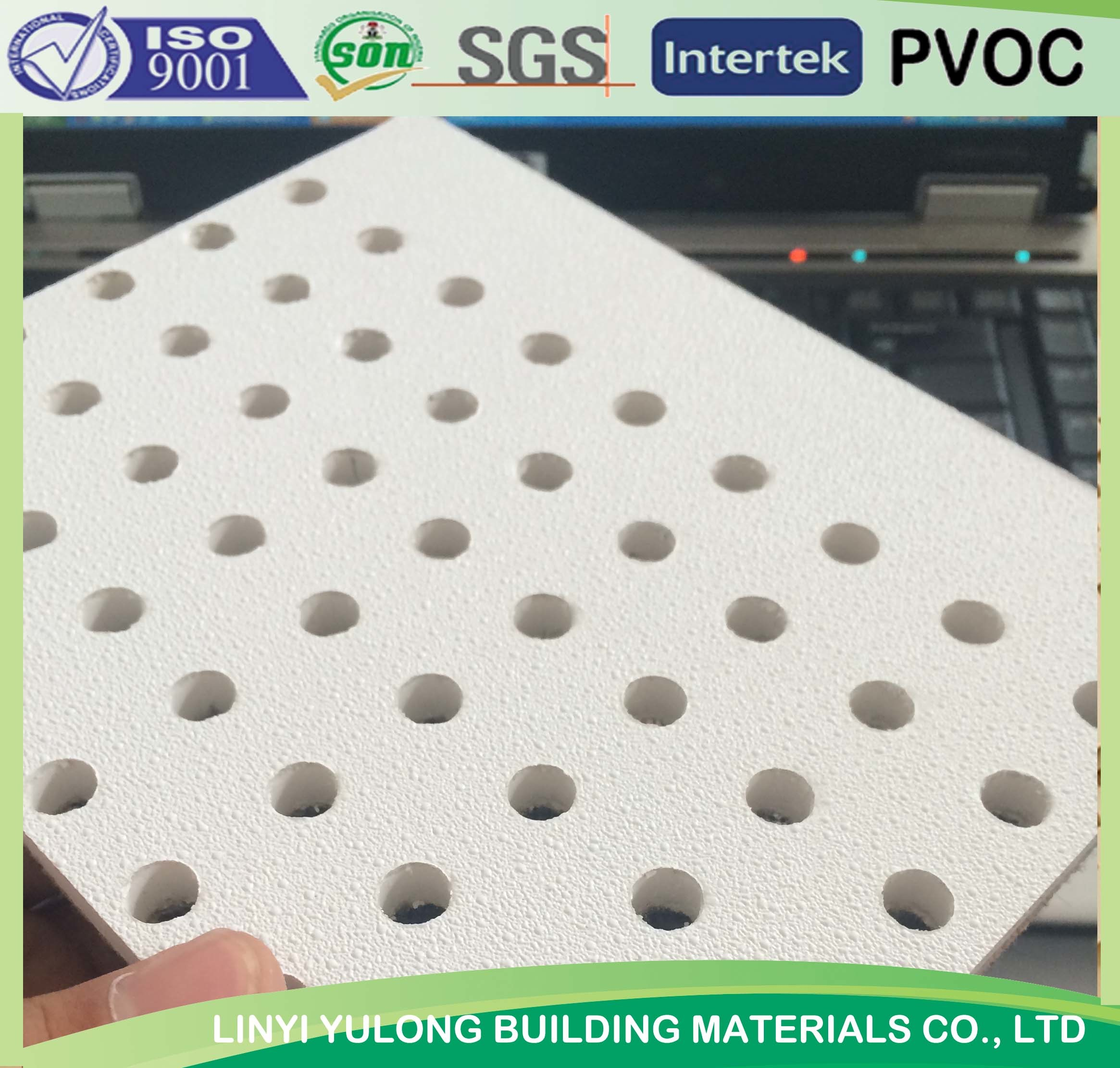 China Perforated Pvc Gypsum Ceiling Tiles China Sound Absorb